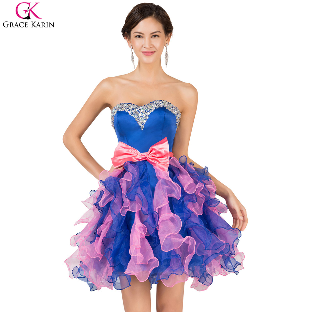 Grace Karin Short Puffy Prom Dresses 2017 New Sexy Bow Beaded Royal Blue Ball Gown Short Prom Dress Formal Party Gowns 7528