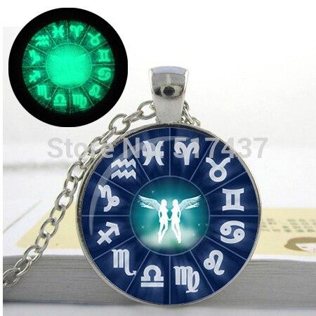 Glowing Jewelry, Gemini Necklace Zodiac Jewelry Astrological Sign Twins May June Birthdays Astrology Glow in the DARK Necklace