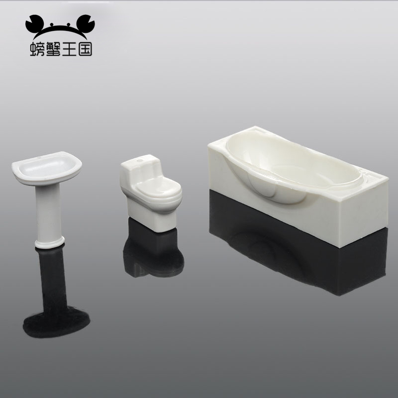 3pcs/set 1:25 1:30 Bathroom Furniture Dollhouse Closestool Bathtub Wash Basin Model Set Toy Dollhouse Miniature