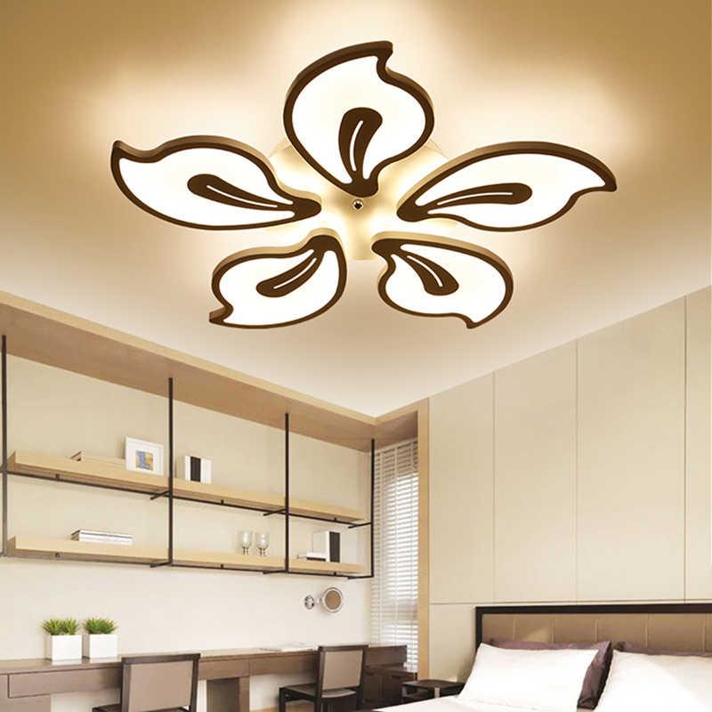 Современная светодиодная люстра, освещение для гостиной, спальни, глянцевая белая Потолочная люстра с пультом дистанционного управления