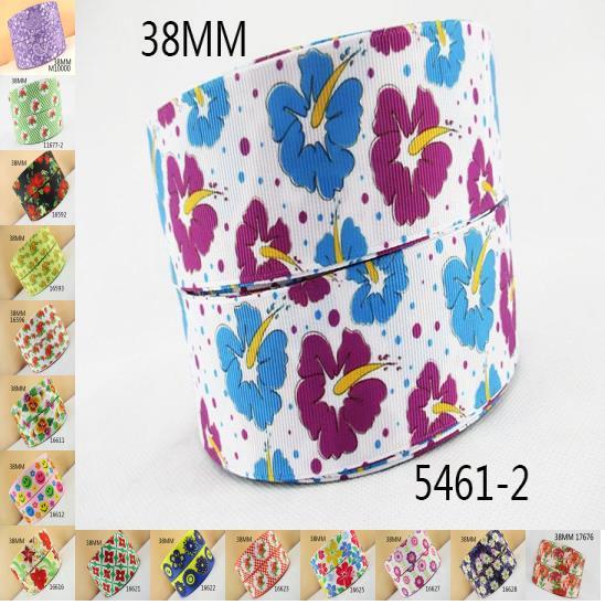 1.5 «(38 мм) цветы серии высокого качества Печатных Полиэфирная лента 50 ярдов, DIY материалы ручной работы, свадебная подарочная упаковка, 50yc1287