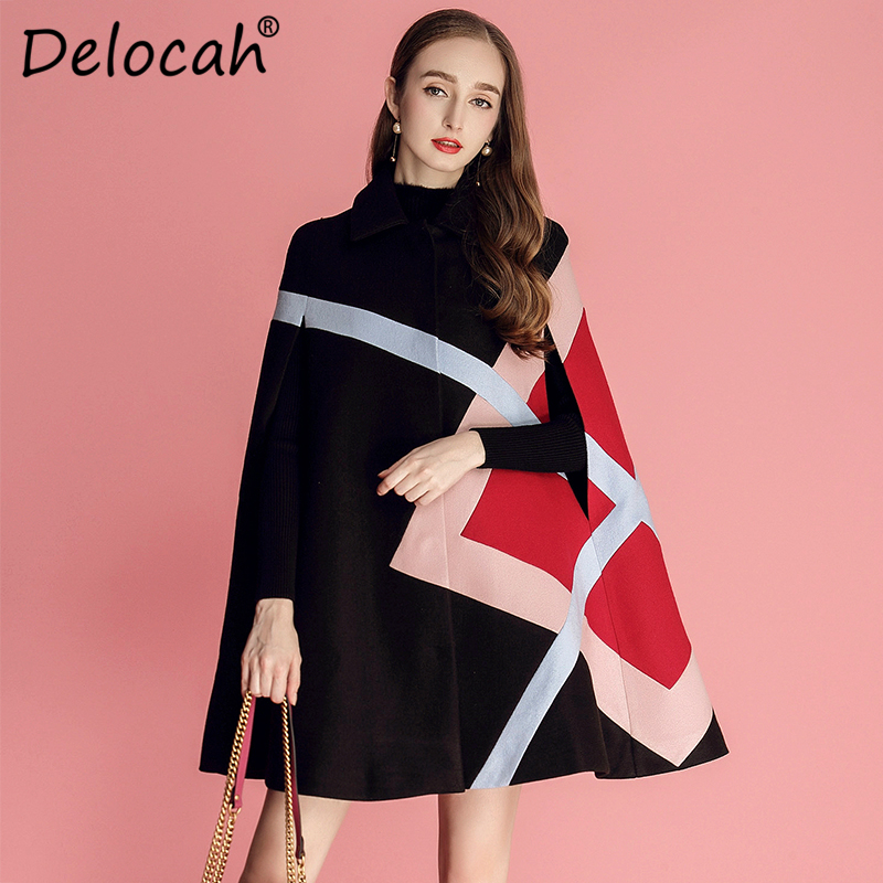 Delocah New 2018 Women Autumn Wool Fashion Runway Design Long Sleeve Turn down Collar Geometric Printed Loose Slim