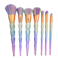 7Pcs Diamond Shape Makeup Brush Set Dazzle Glitter Foundation Powder Makeup Brushes Rainbow Makeup Eyeshadow Blending