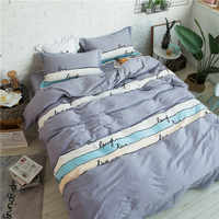Color lila raya Cartoon patrón Fundas nórdicas cama 100% algodón sábanas almohada 4 unids cama Ropa de cama reina rey 2 tamaño
