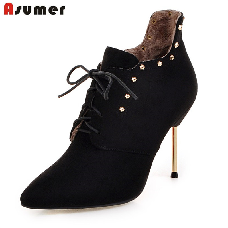 ASUMER 2018 autumn winter sexy women ankle boots lace up with rivets pointed toe thin heels pu nubuck leather fashion boots ...