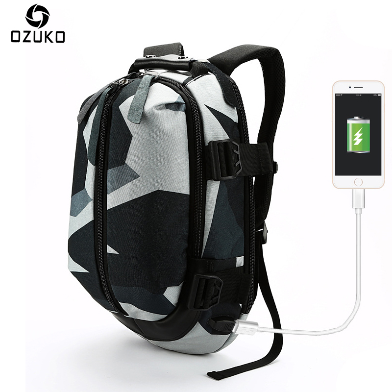 OZUKO New Fashion Student School Bags Casual Men s Backpack USB Charge 14 Inch Laptop Computer