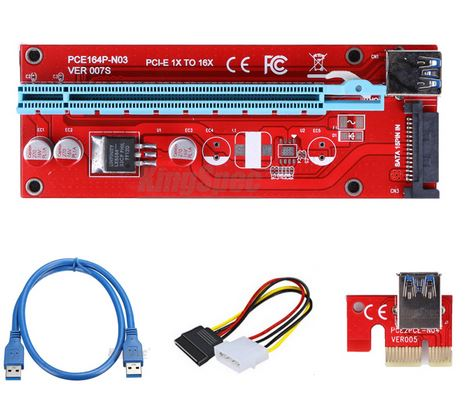 PCI-E 1X to 16X Riser Card Extender PCIE PCI Express Adapter with USB 3.0 Cable + 15Pin SATA Molex Power Connector pci e to