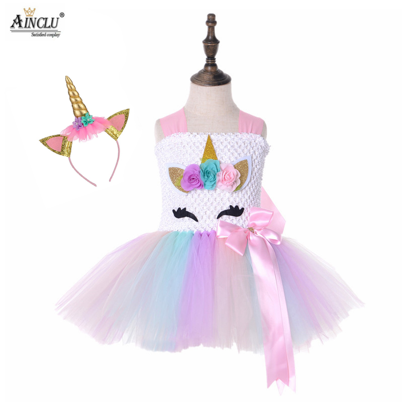 Baby Girls Hair+Unicorn Dress For Girls Birthday and Wedding Kids Party Prom Gown Girl Children Cosplay Clothing Dresses Kids