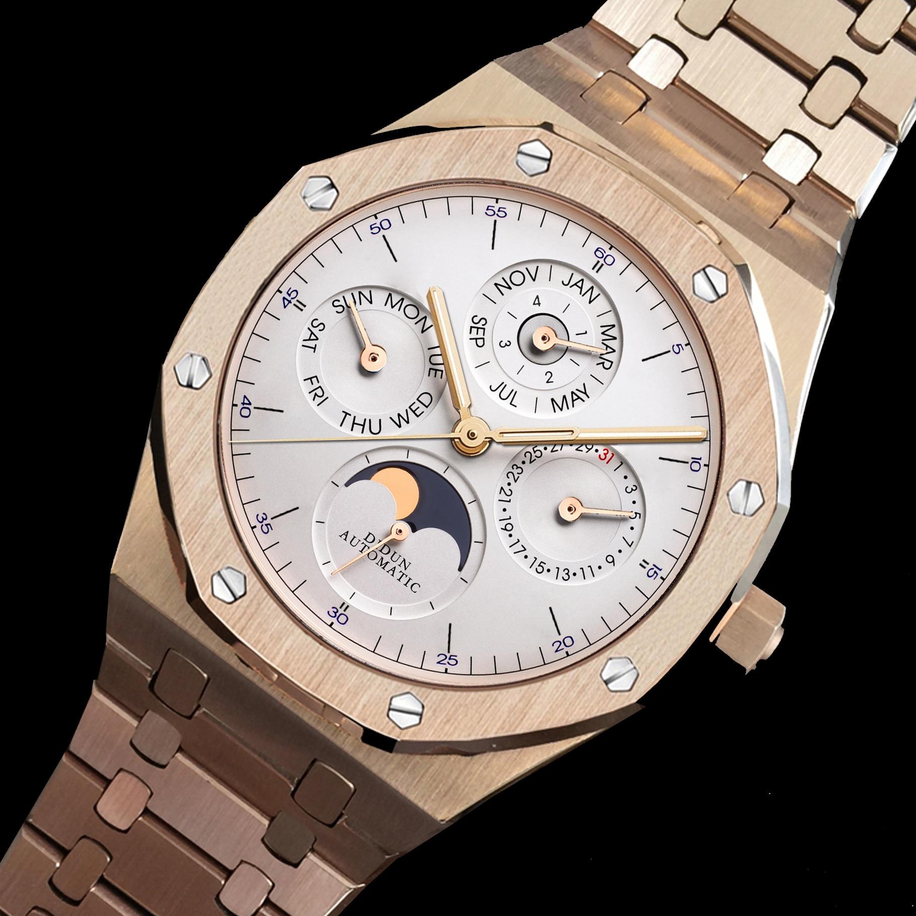 DIDUN Homens Relógios Top Marca de Luxo Relógio Mecânico Automático de Negócios de Moda Relógio Moonphase 30m À Prova D' Água