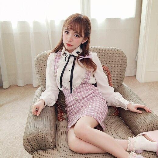 Princesse douce lolita blouse BoBON21 Original amour coeur évider col noir champignon dentelle blanc blouse T1264 attacher noeud papillon