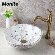 Monite Art керамический умывальник весеннее цветение дизайн раковина для ванной комнаты античный латунный Смеситель для воды кран W/Pop Up слив
