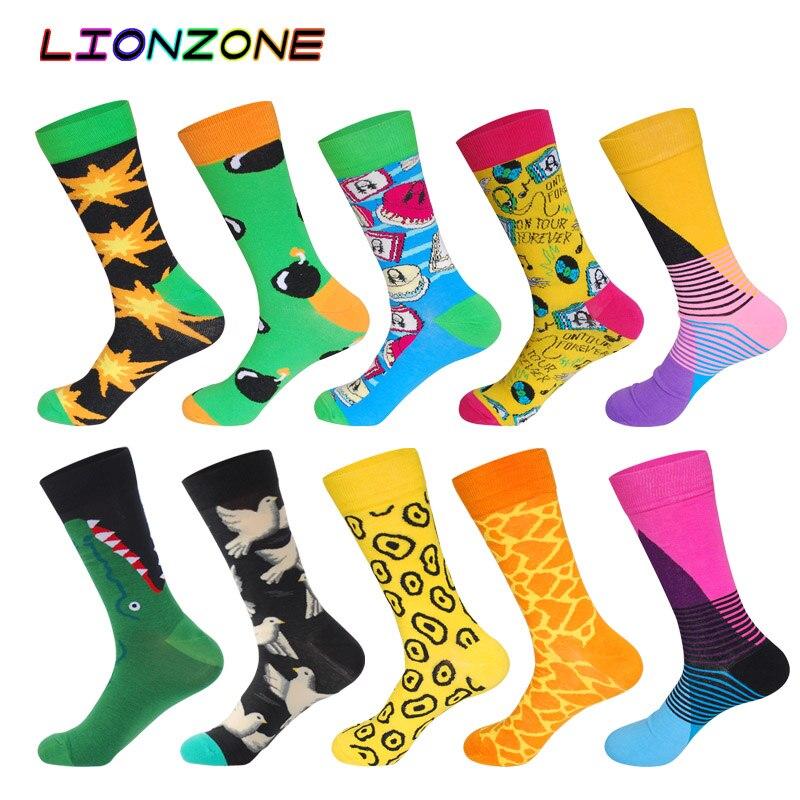 10 Pairs/Lot Men Socks Combed Cotton Bomb Leopard Alligator Dove Pattern Design Socks Funny Happy Dress Male Socks + Free Gift