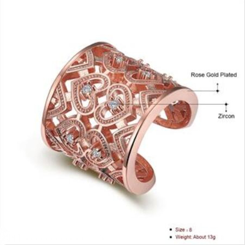 Gold And Rose Gold-Color Mounting  Zircon Engagement Jewelry Rings  - Fashion Jewelry