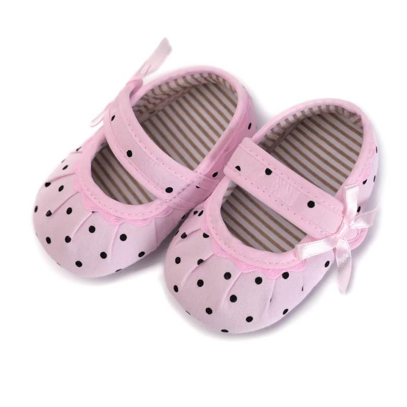 Pretty Moccasins Butterfly-knot Baby Girl Shoes Polka Dot 0-18 Months Newborn Baby Toddler Crib Anti-slip Shoes Cotton Fabric