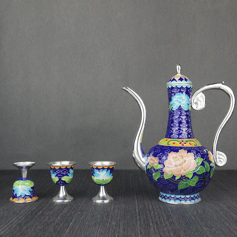 High-grade cloisonne sterling silver wine set 999 handmade enamel jug glass