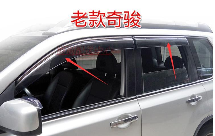 lane legend caseFor Nissan X-TRAIL 2008-2013 Stripe Window visor Sun Guard Deflector Vent 4pcs car styling accessories 4pcs set smoke sun rain visor vent window deflector shield guard shade for hyundai tucson 2016