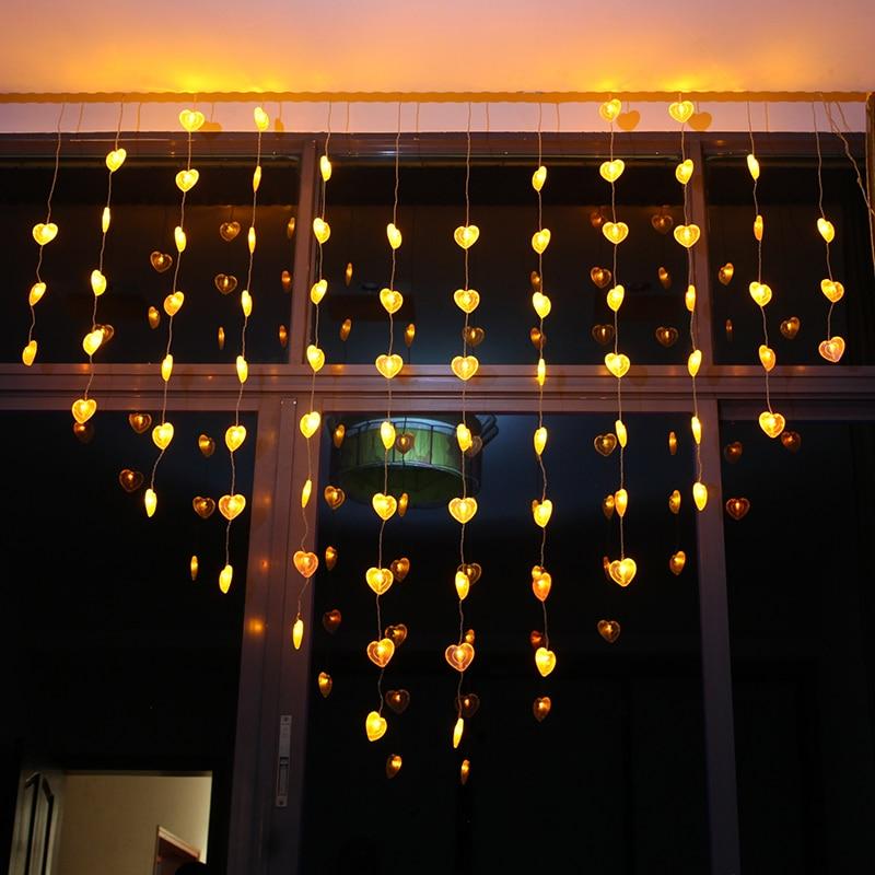 € 29.88 |2*1.5 m LED Chaîne de Lumières de Rideau Coeur Forme Ampoules Fée  De Mariage fournitures décoration chambre Guirlande clignotant LED de ...