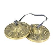 1 Pair Brass Cymbal Bell Chimes Tibetan Buddhist Style Tingsha Meditation Yoga Accessory