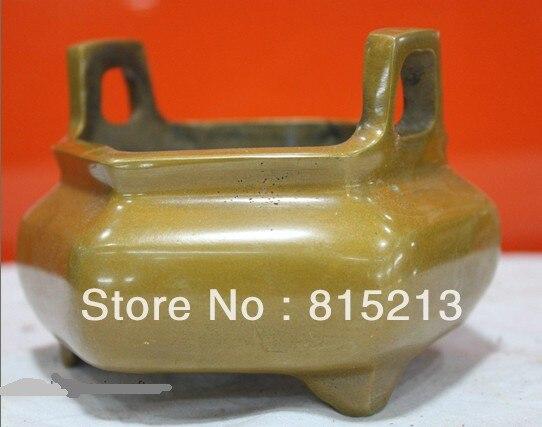 bi00420 Folk Culture HandMade Pure Brass Bronze statue incense burner censer Sculpture
