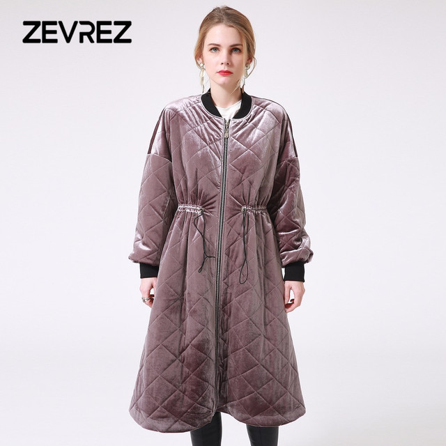 787439923cb Female Velvet Winter Long Down Jacket Thick Tunic Purple Patchwork Padded  Jacket Quilted Casual Women Outwear Warm Coat Zevrez