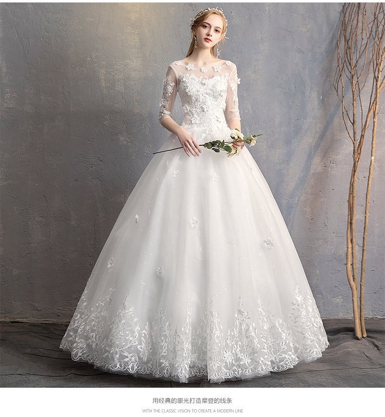 Image 3 - Do Dower 2019 New O Neck Three Quarter Wedding Dress Princess Flower Beading Lace Up Floor Length Wedding Gown Robe De Mariee L-in Wedding Dresses from Weddings & Events