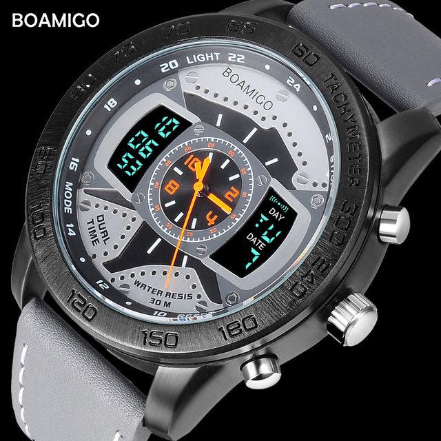 Men Sports Watches BOAMIGO brand man leather LED digital quartz watches wristwatches 30M water resistant relogio masculino clock