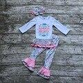 Детские Девушки Осень бутик одежды девушки победителя, который никогда не сдаваться одежда девочки бутики одежды с соответствующими оголовье