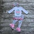 Boutique de ropa de las muchachas de los bebés Caen un ganador que nunca da para arriba la ropa de tiendas de ropa de los bebés con diadema a juego