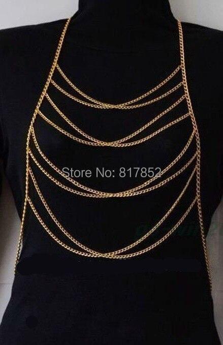 9e36804c312a De la moda mujeres b60 color oro Cadenas simple ocho capas Cadenas 3 colores