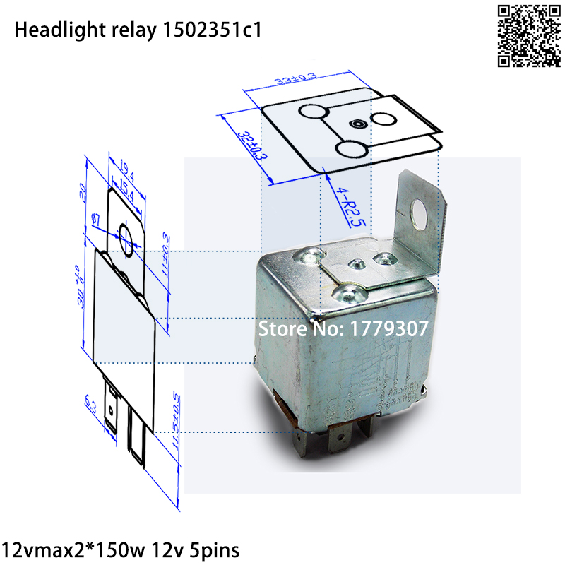 Free Shipment 5pins 12v Relay Low Beam Car Headlight Relay For