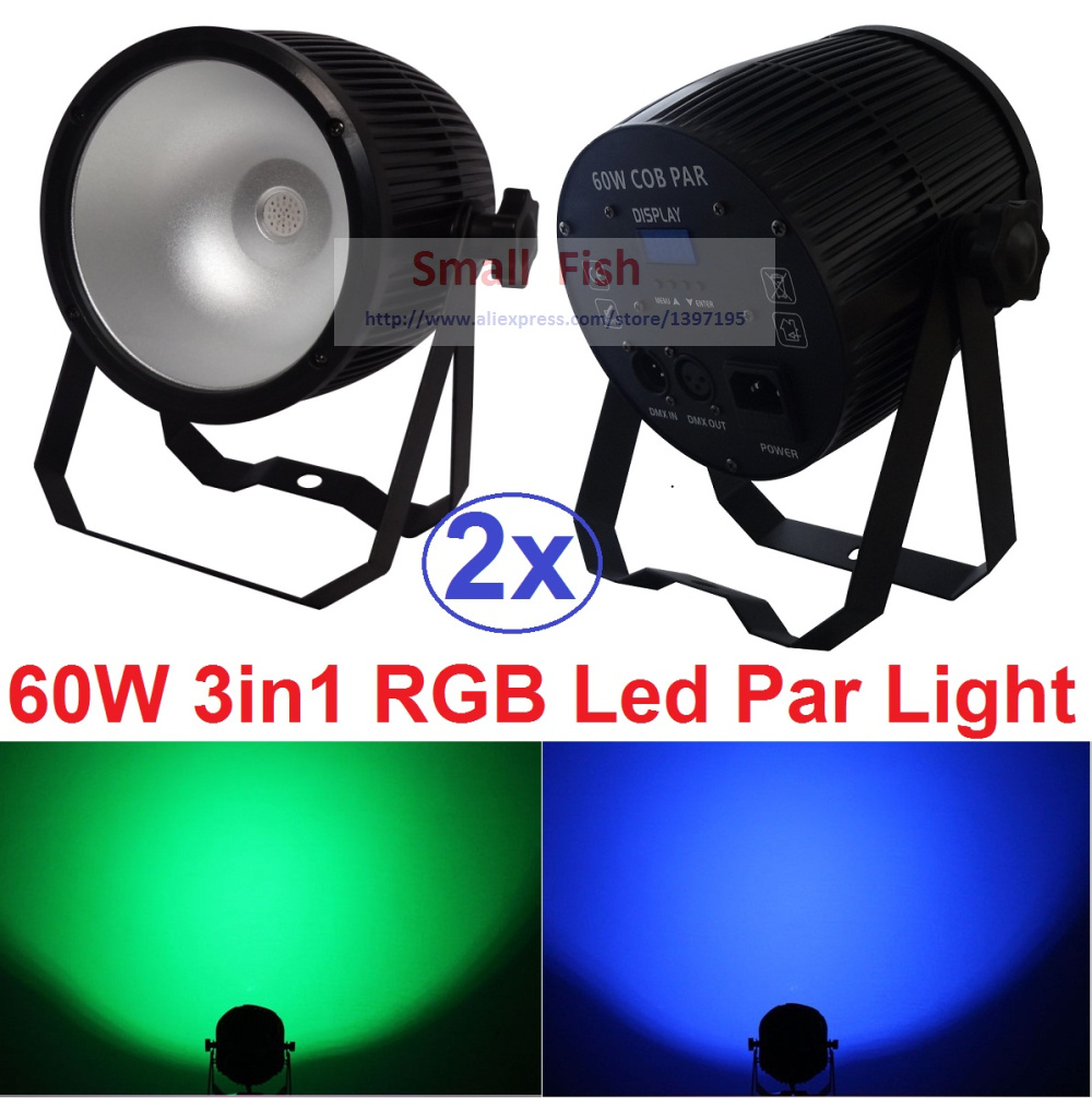 купить 2xLot COB Led Par Light 60W 3IN1 RGB Par Led Can Beam Wash DJ Disco DMX512 Stage Lighting Effect Home Party Equipments for Sale дешево