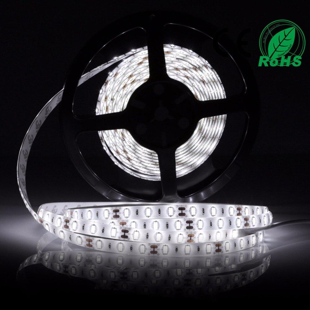 5630 LED sloksnes gaisma 2 * 1Roll / 5M zemas jaudas patēriņš Baltā ūdensnecaurlaidīga Fiexble Led Strip Light DC12V Led lente Led 60leds / m