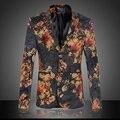 Качество Пиджак Мужчины Зима Новый Повседневная Цветочные Мужчины Пиджак Одного грудью С Длинным Рукавом Пиджаки и Куртки Slim Fit Plus размер
