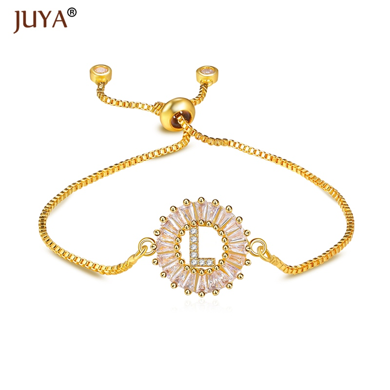 Accessories To Make Bracelets Fashion Women Jewellery Luxury Crystal Round Charm 26 English Letter L Connectors Pendant Gift