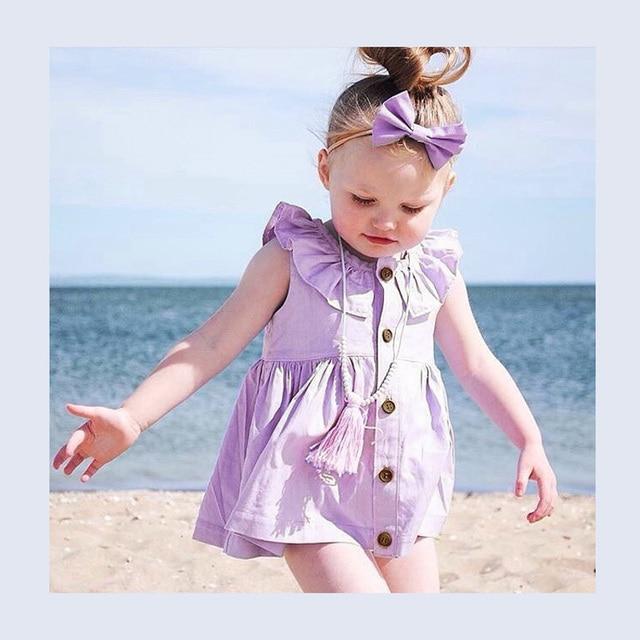 2017 Cute Baby Dresses Flower Collar Cotton Princess Dress Purple Toddler Clothes Girls Dress Summer Baby Clothing Hot Sale