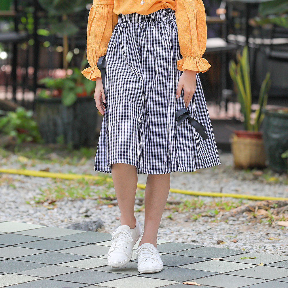 8 9 10 11 12 13 14 Years Kids Girls Skirt School Plaid Skirt Bow Knot Princess Girl Miniskirt Cotton Spodnica Korean Fashion