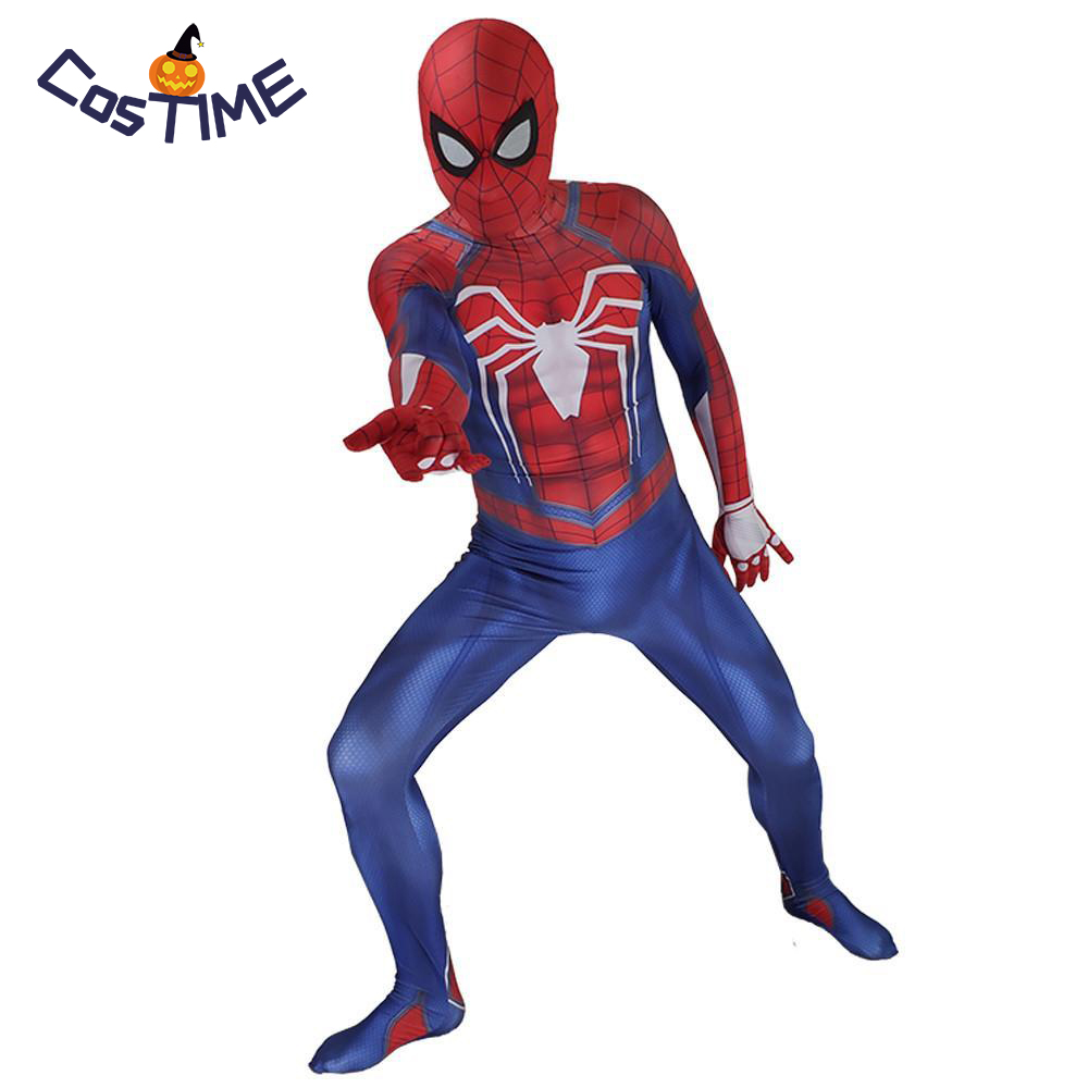 Spider-Man PS4 Costume 3D Print  Video Game Spiderman Cosplay Full Bodysuit for Halloween Adult Kids Boys Superhero Fancy Dress