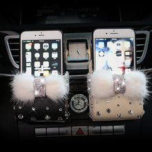 Luxury Mink fur Crystal Car Outlet Air Vent Trash Box Auto Mobile Phone Holder Rhinestones Pouch Organizer Hanging Storage Bag