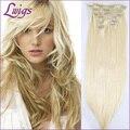 Material de 5A brasileiro virgem do cabelo 613 # cor da moda de seda reta clip em extensões do cabelo humano 7 Pçs/set frete grátis