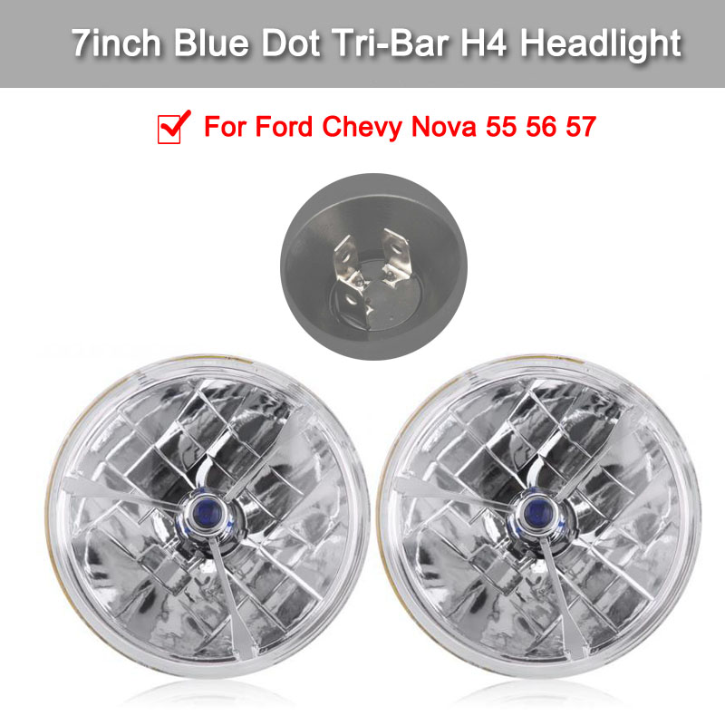2 Pcs 7inch Blue Dot Tri-Bar H4 Headlight Waterproof Clear Lens Signal Lamp For Ford Chevy Nova 55 56 57