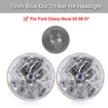 2 Pcs 7inch Blue Dot Tri-Bar H4 Headlight Waterproof Clear Lens Signal Lamp For Ford Chevy Nova 55 56 57