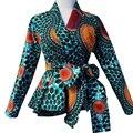 Moda Africano impresso blusa com cinto feminino casual outono tops batik africano ancara roupas top quanlity