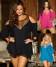 XXXXL XXXL Sexy Lingerie Plus Size See Through Mesh Rose Red Blue Black Satin Night Dress Nightgowns Women Sleepwear Nightwear