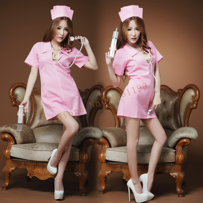 Buy New Sexy Lingerie White Nursing Uniforms Sexy Costume Temptation Erotic Nurse Role Playing Suit Cosplay Lingerie +Hat 60003