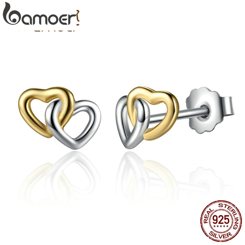 BAMOER New Arrival 925 Sterling Silver Heart to Heart Small Stud Earrings Women Engagement Jewelry PAS442BAMOER New Arrival 925 Sterling Silver Heart to Heart Small Stud Earrings Women Engagement Jewelry PAS442