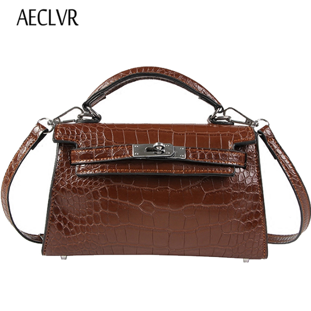 Aeclvr Alligator Women Leather Bag Luxury Good Quality Handbags Messenger Vintage Lock Small Ping