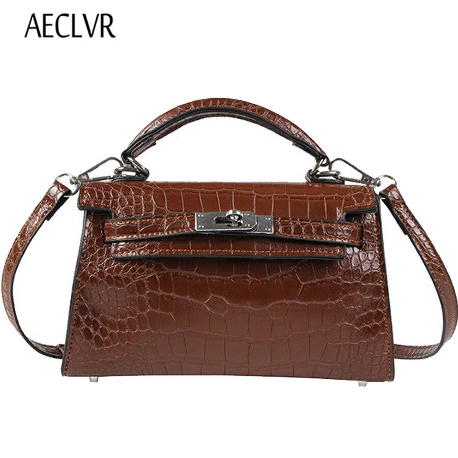 AECLVR Alligator Women Leather Bag Luxury Good Quality Women Handbags Messenger Bag Vintage Lock Small Shopping Bag Shoulder Bag