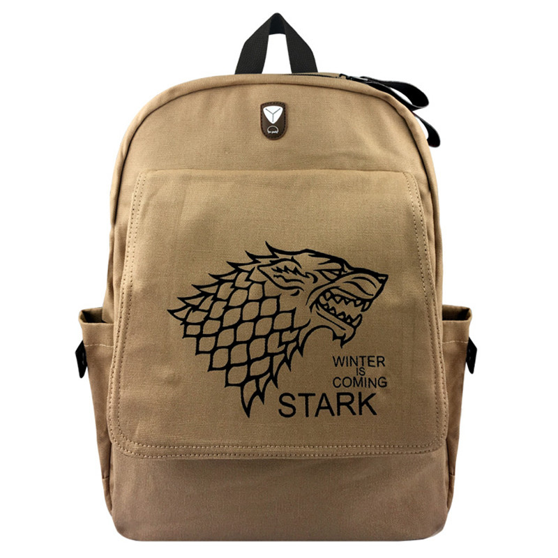 Game of Thrones Stark Winter Canvas Backpack Laptop Bag School Bag Shoulder Bag Travel Cosplay Bag With Earphone hole Durable game of thrones casual shoes women house stark winter is coming printed summer style superstar graffiti canvas shoes big size