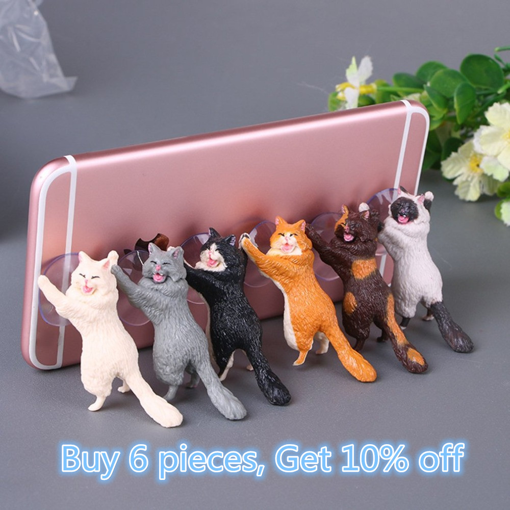 Phone Holder Cute Cat Support Resin Mobile Phone Holder Stand Sucker Tablets Desk Sucker Design high quality Smartphone Holder(China)