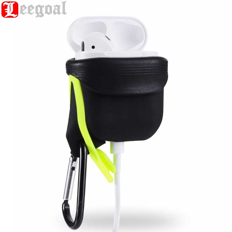 Leegoal Silicone Case For Airpods Waterproof Shockproof Protector Case For Apple for Air Pods Earphone With Anti-lost Hook